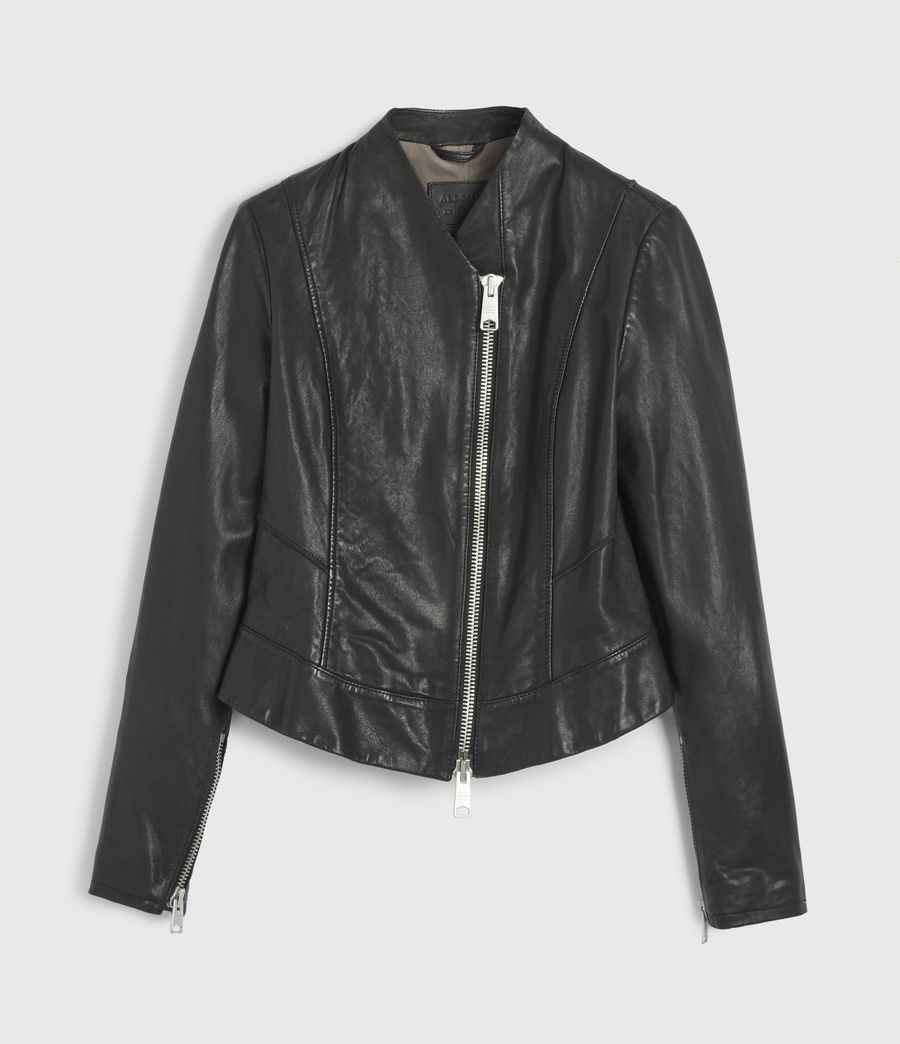 Womens Jae Leather Blazer (black) - Image 7