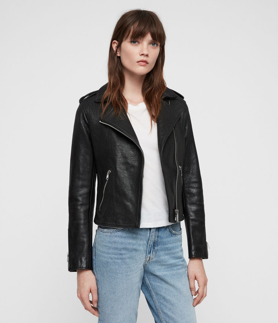 Women's Hadi Leather Biker Jacket (black) - Image 1