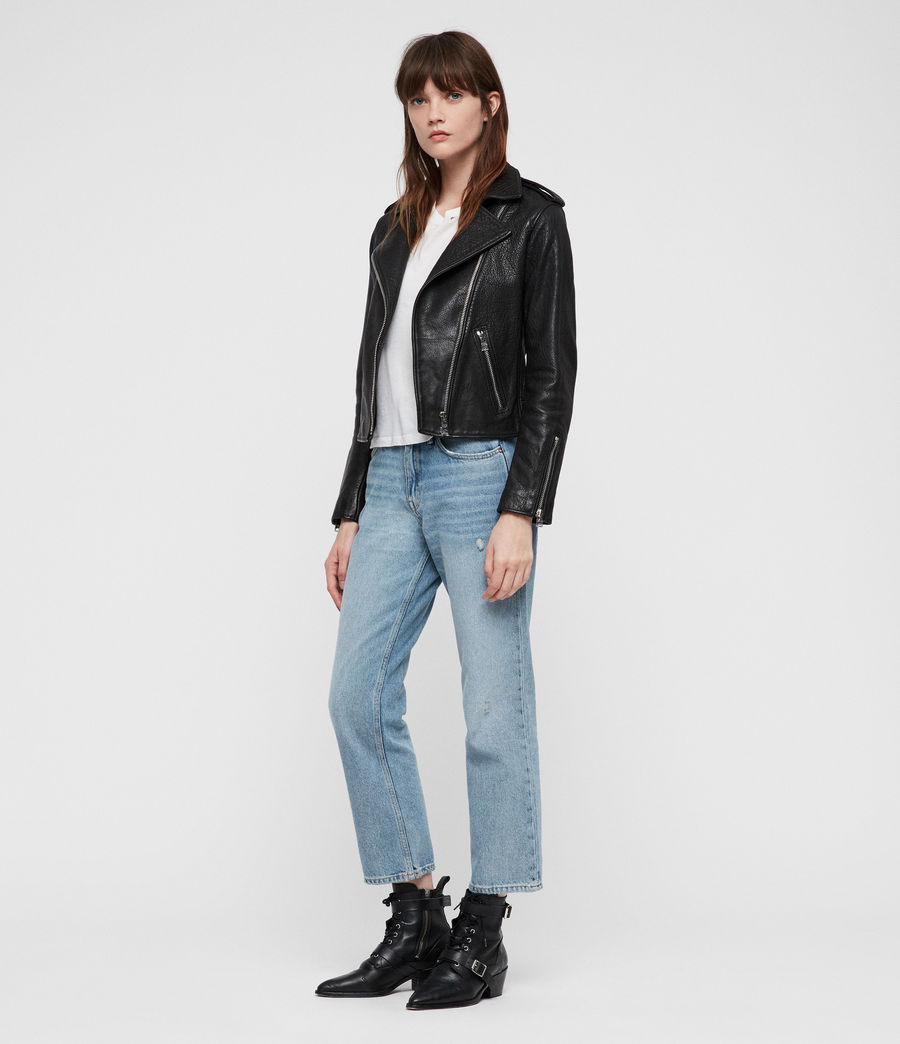 Womens Hadi Leather Biker (black) - Image 3