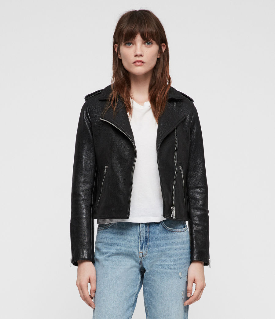 Women's Hadi Leather Biker Jacket (black) - Image 4