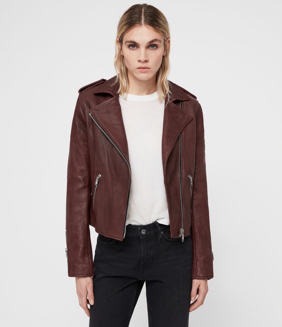 Women's Hadi Leather Biker Jacket (tuscan_red) - Image 1
