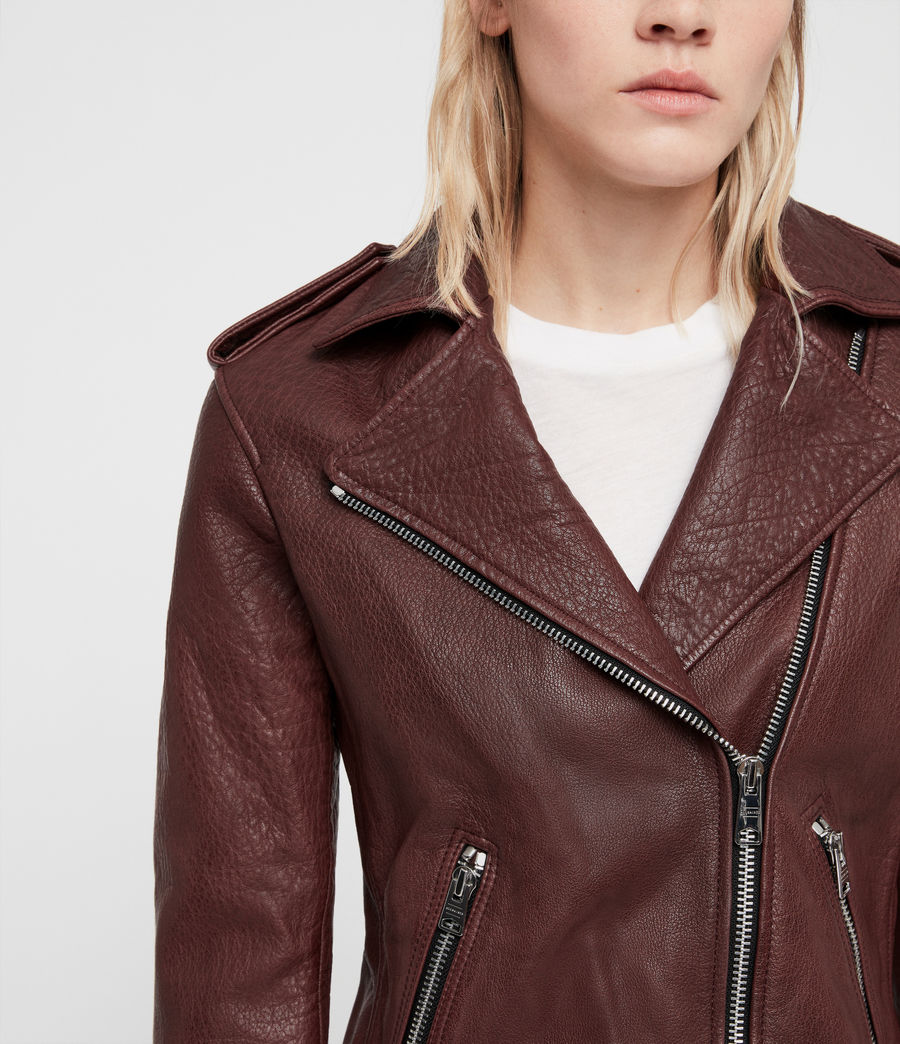 Women's Hadi Leather Biker Jacket (tuscan_red) - Image 2