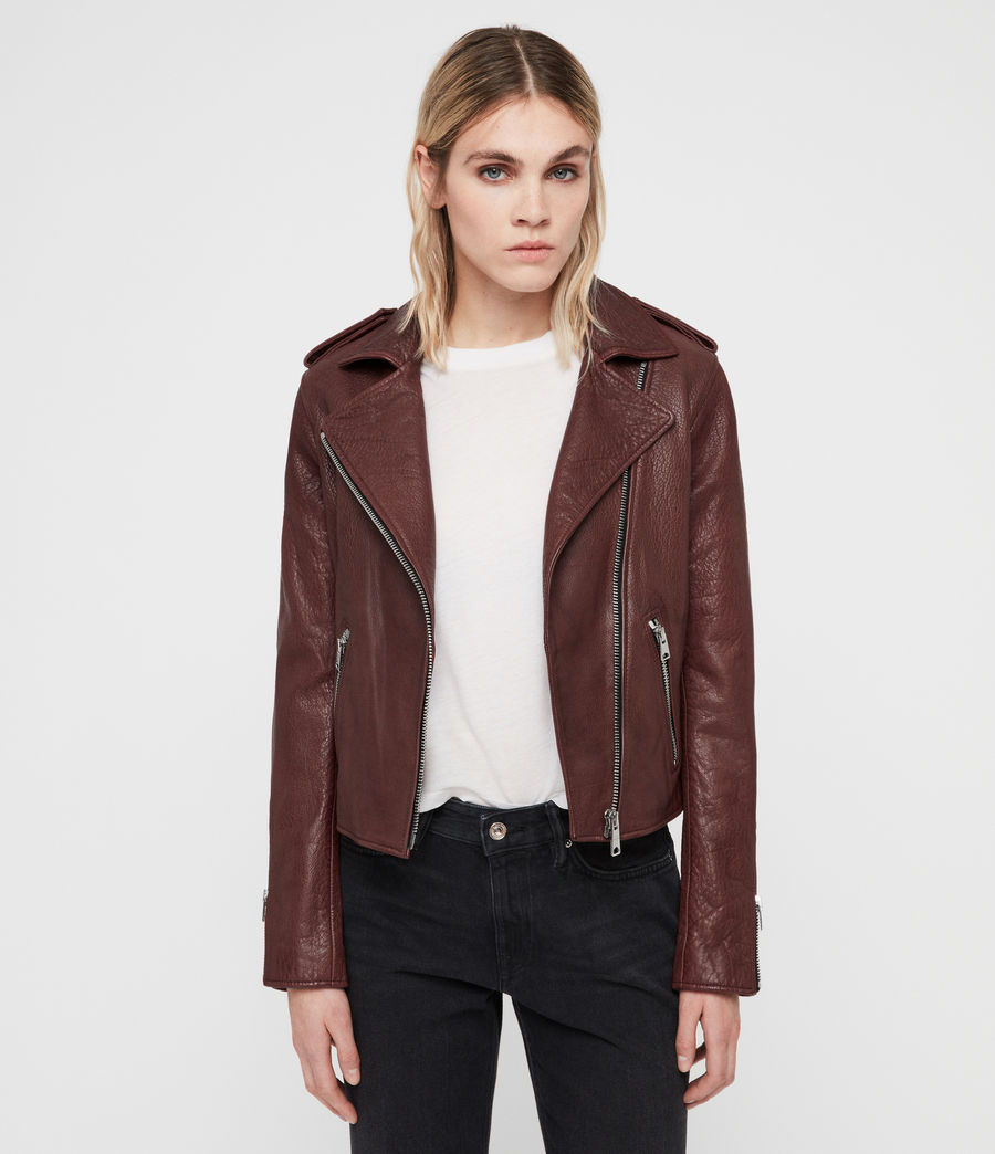 Women's Hadi Leather Biker Jacket (tuscan_red) - Image 4