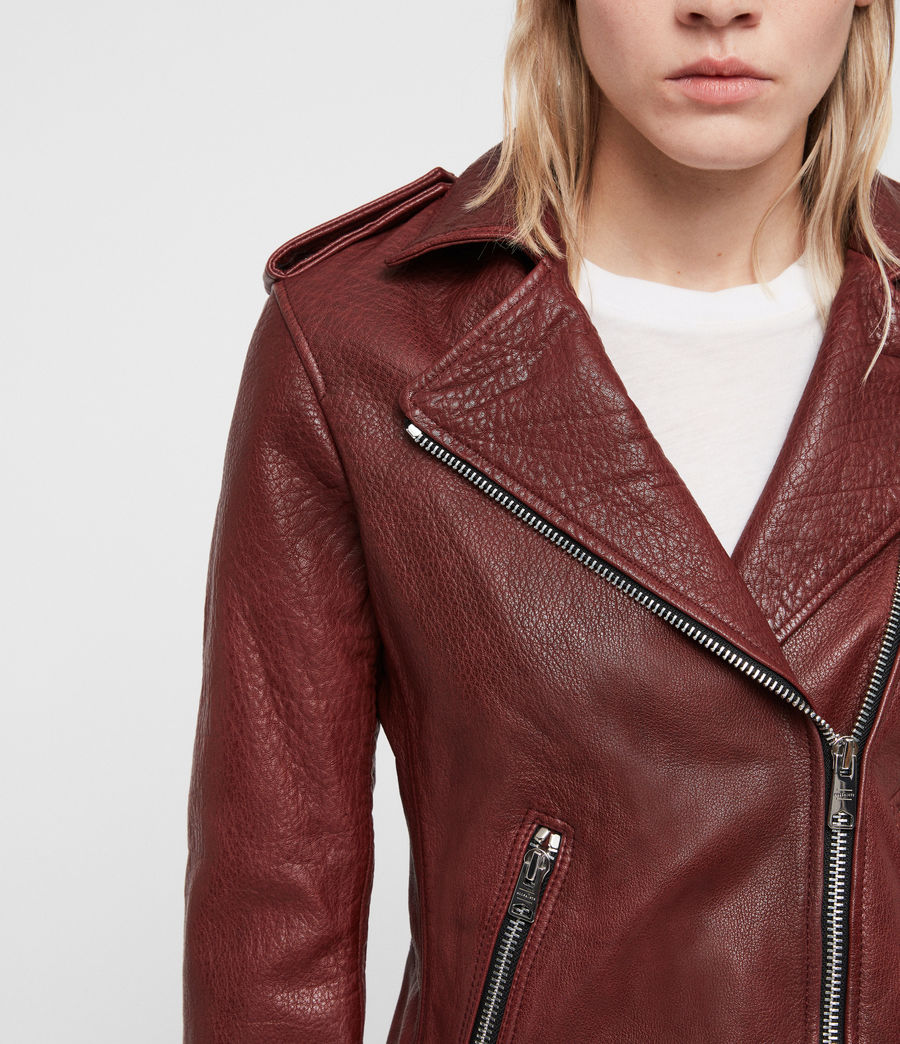 Women's Hadi Leather Biker Jacket (tuscan_red) - Image 5