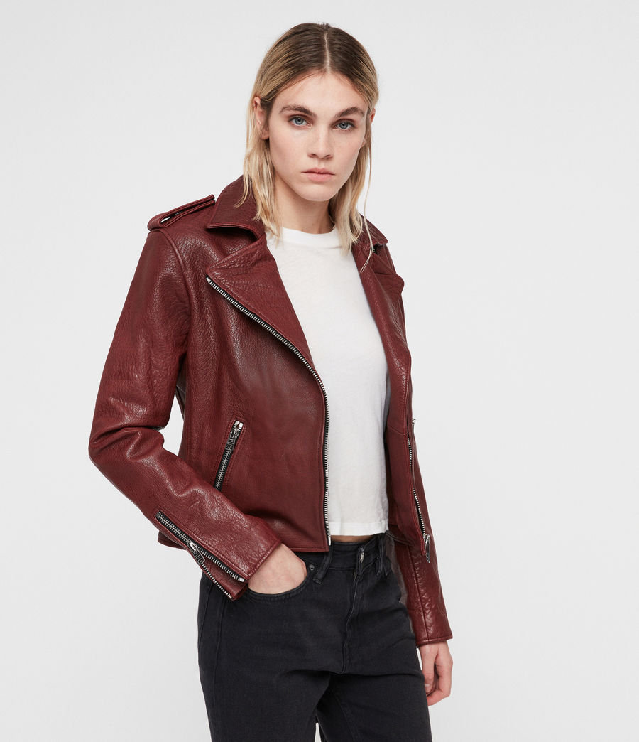 Women's Hadi Leather Biker Jacket (tuscan_red) - Image 6