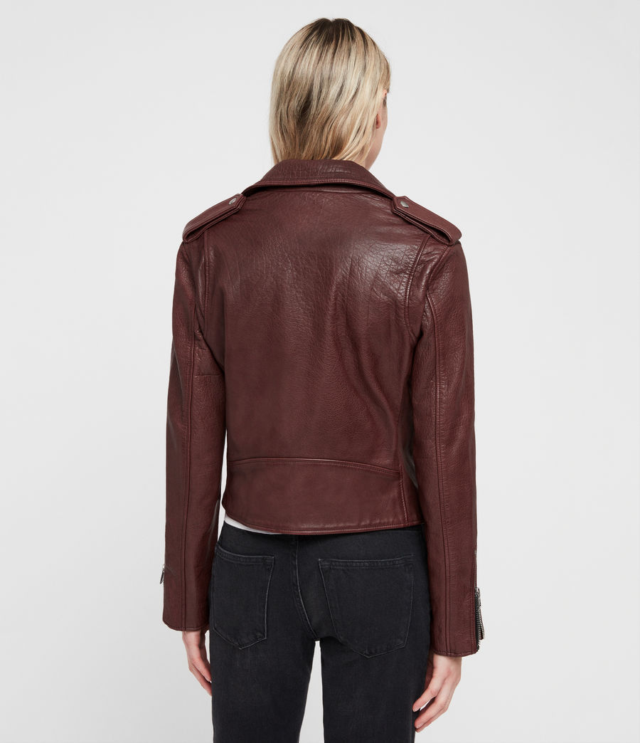 Women's Hadi Leather Biker Jacket (tuscan_red) - Image 7