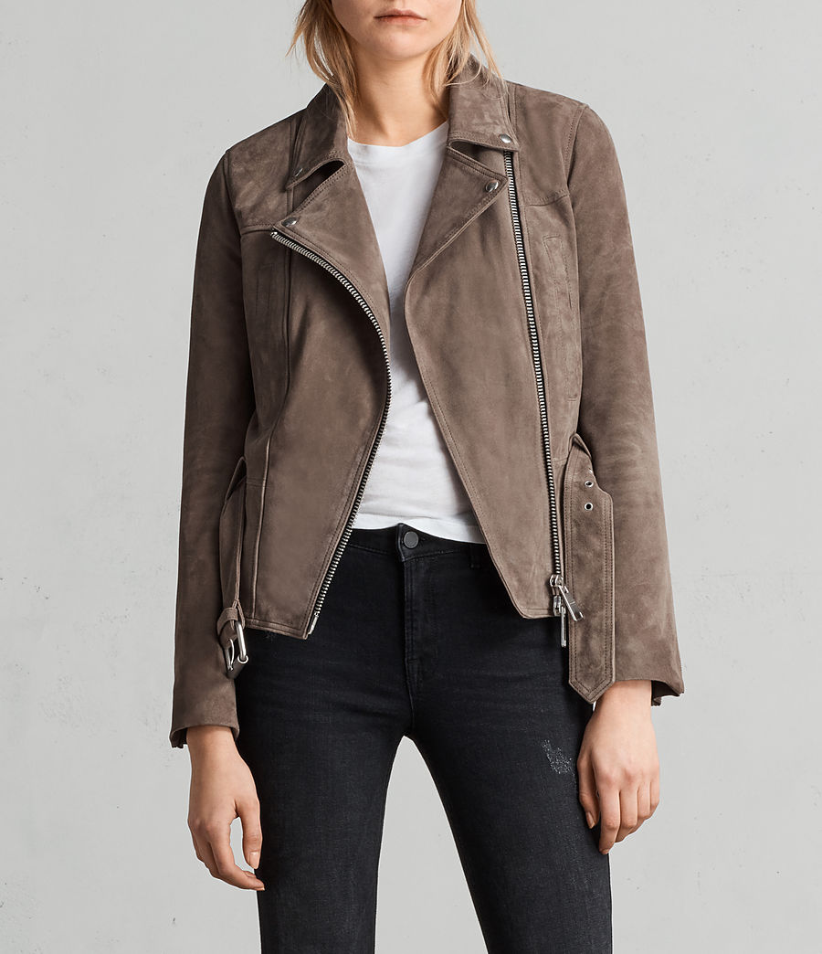Womens Haworth Suede Biker Jacket (anthracite_smoke) - Image 1