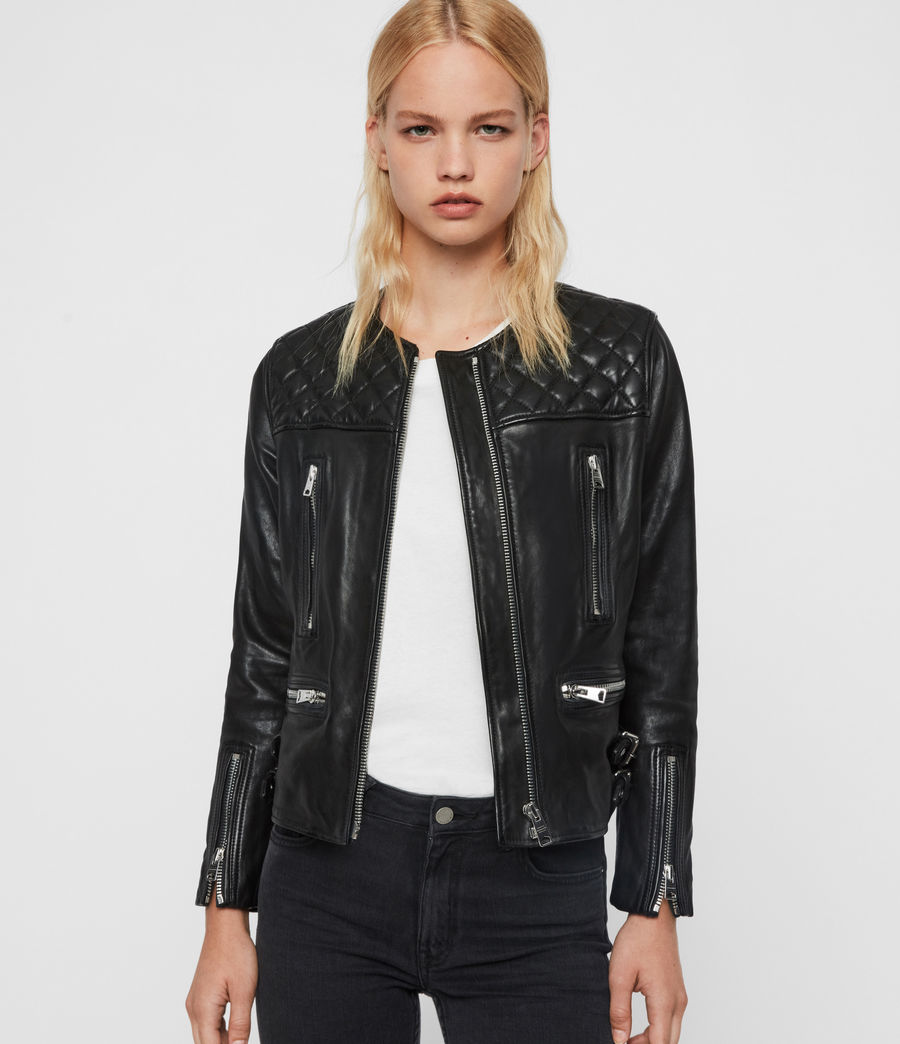 Women's Milou Leather Biker Jacket (black) - Image 1