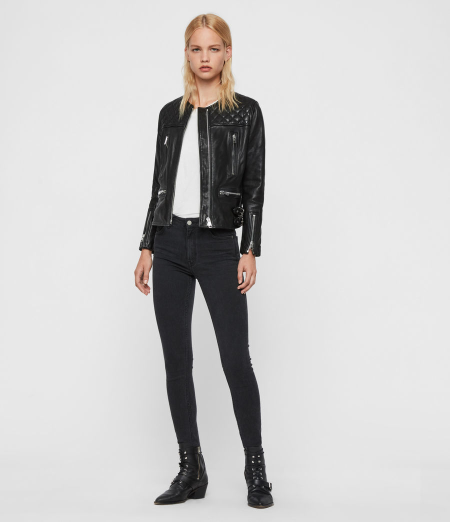 Women's Milou Leather Biker Jacket (black) - Image 3