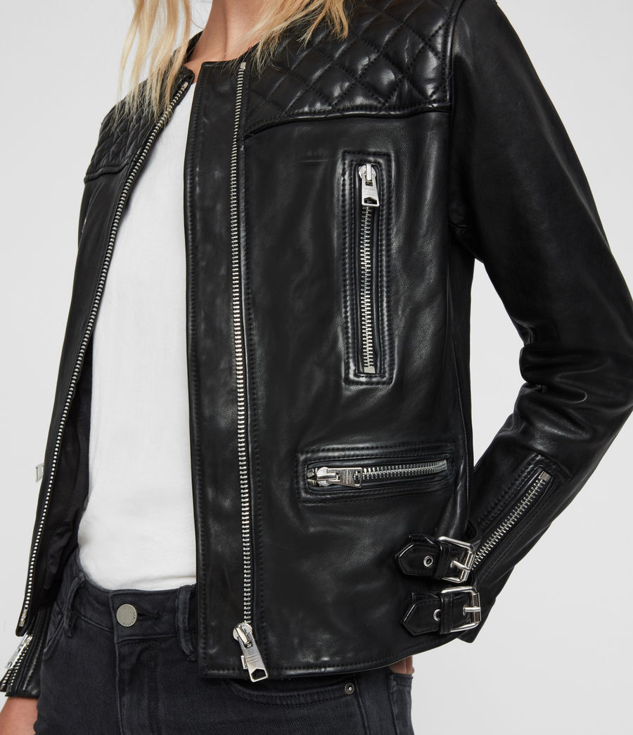 Women's Milou Leather Biker Jacket (black) - Image 5