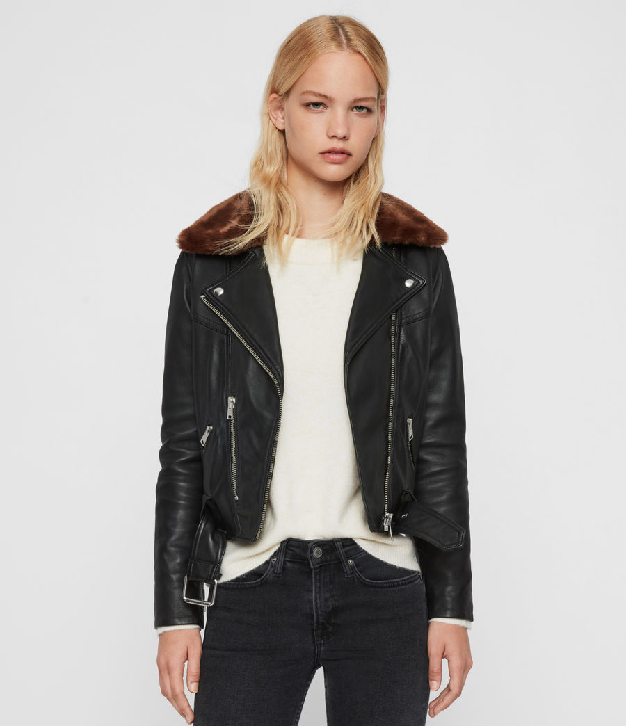 Womens Rigby Lux Leather Biker Jacket (black_toffee) - Image 1