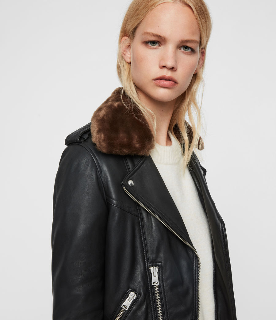 Womens Rigby Lux Leather Biker Jacket (black_toffee) - Image 2
