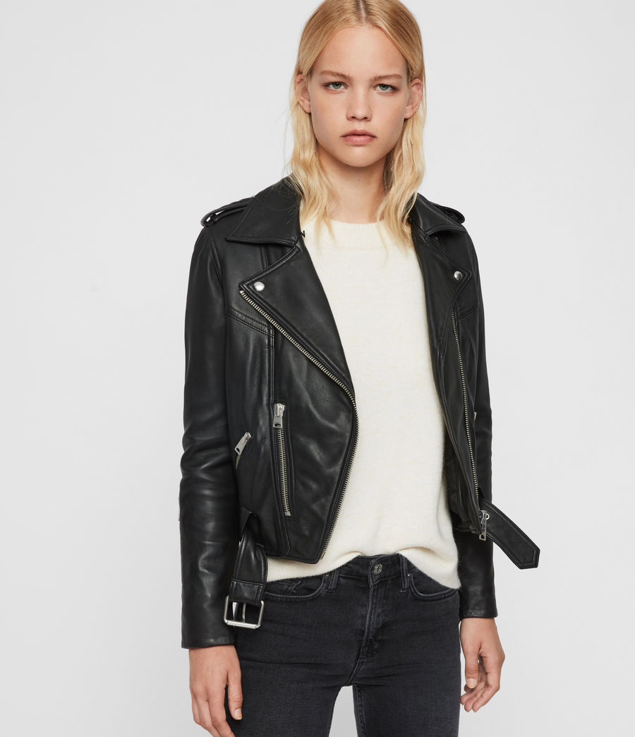 Womens Rigby Lux Leather Biker Jacket (black_toffee) - Image 3