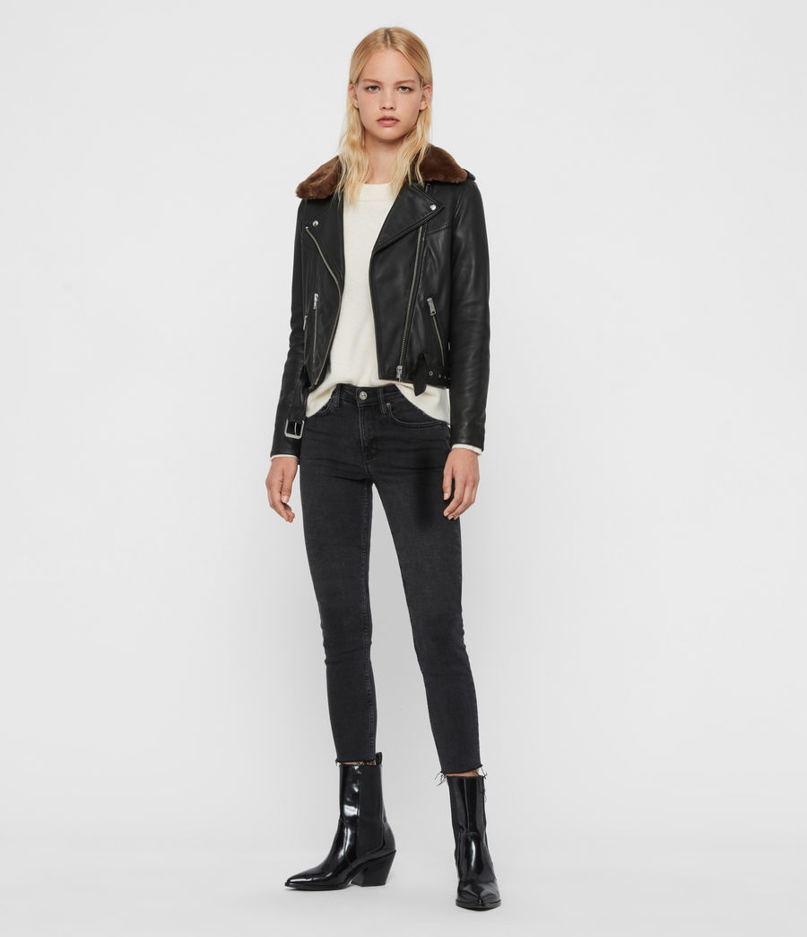 Womens Rigby Lux Leather Biker Jacket (black_toffee) - Image 4