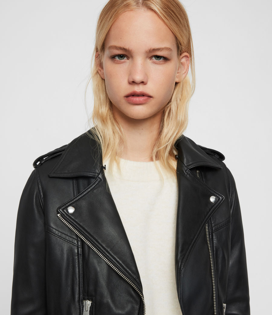 Womens Rigby Lux Leather Biker Jacket (black_toffee) - Image 5