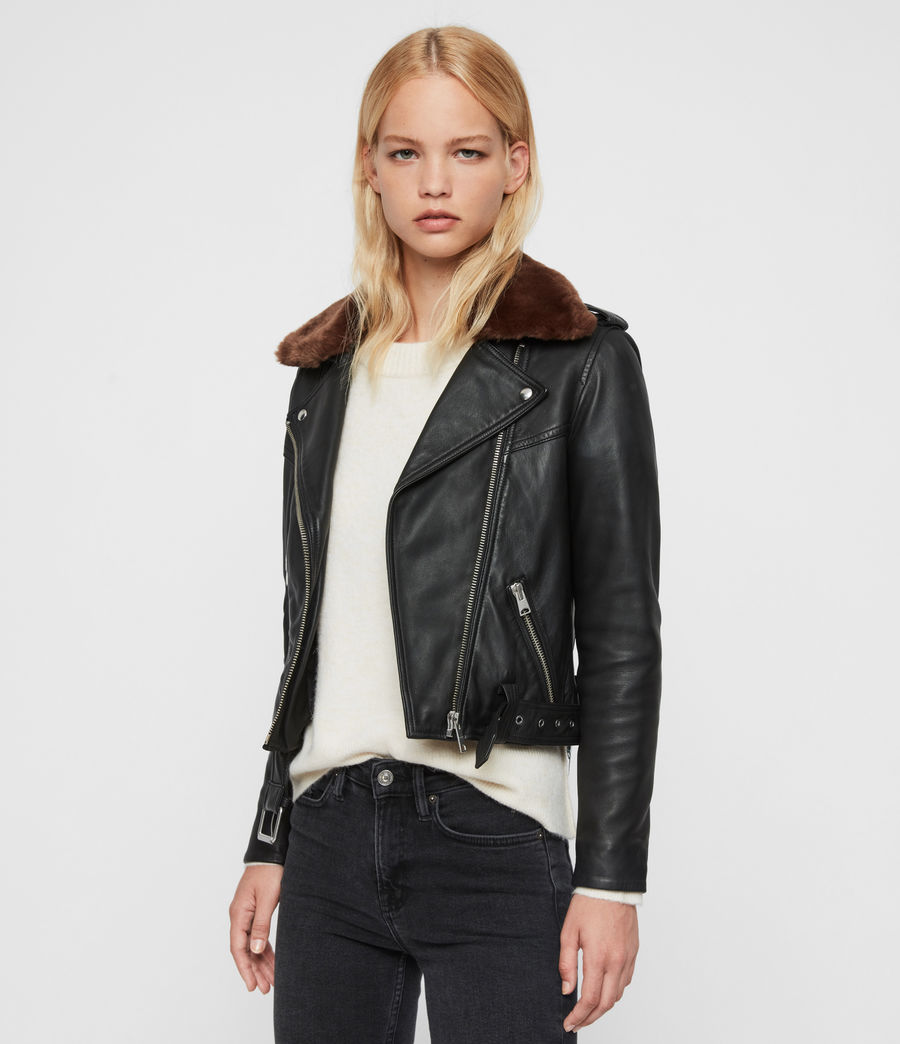 Womens Rigby Lux Leather Biker Jacket (black_toffee) - Image 6
