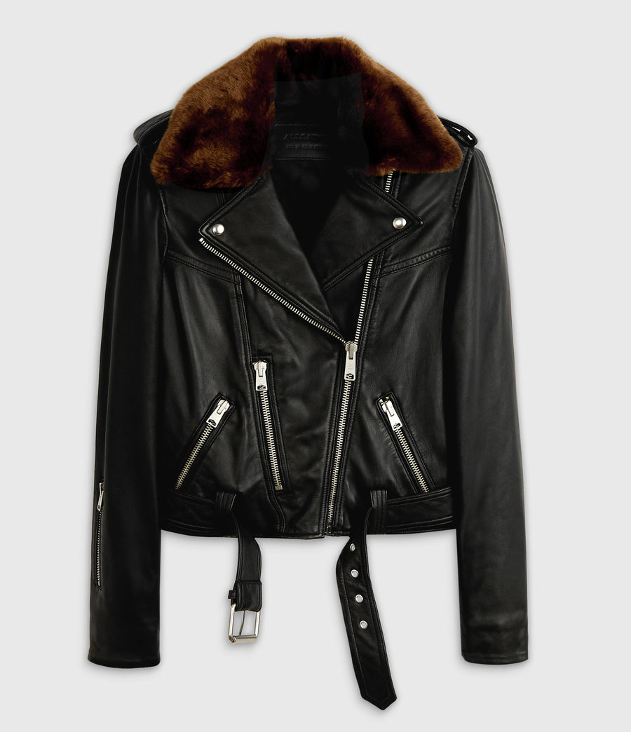 Womens Rigby Lux Leather Biker Jacket (black_toffee) - Image 7
