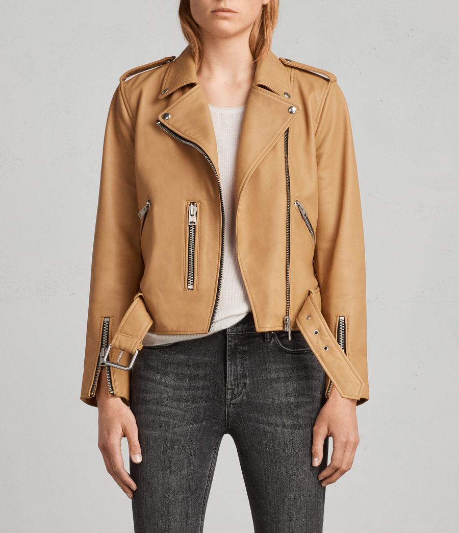 Womens Balfern Leather Biker Jacket (butterscotch) - Image 1