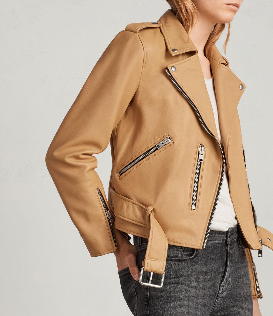 Womens Balfern Leather Biker Jacket (butterscotch) - Image 2