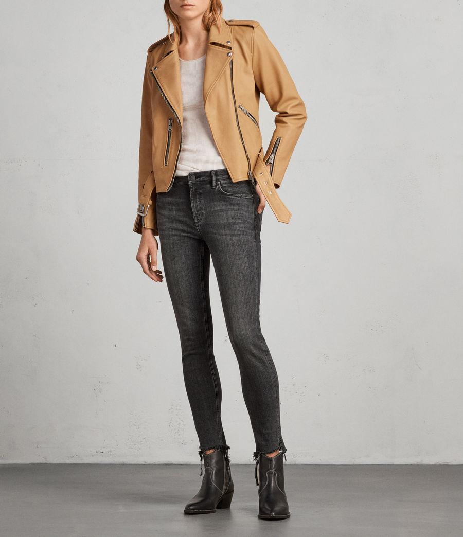 Womens Balfern Leather Biker Jacket (butterscotch) - Image 3