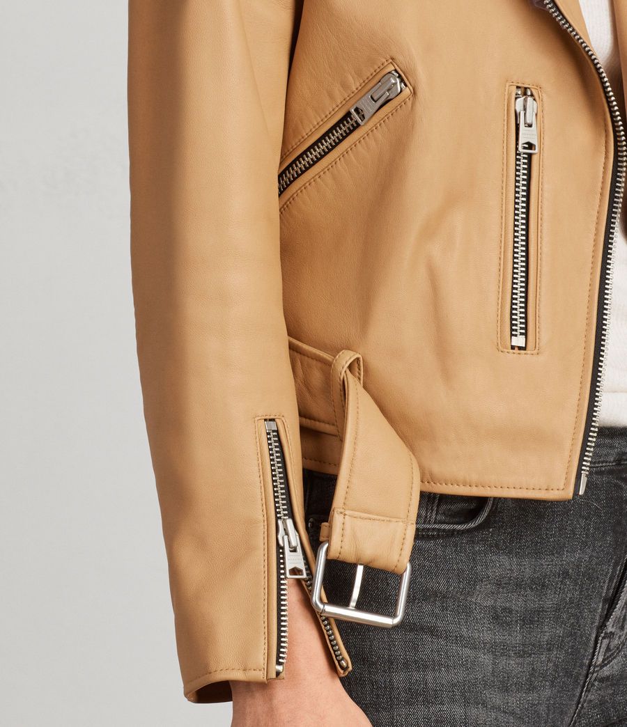 Womens Balfern Leather Biker Jacket (butterscotch) - Image 4