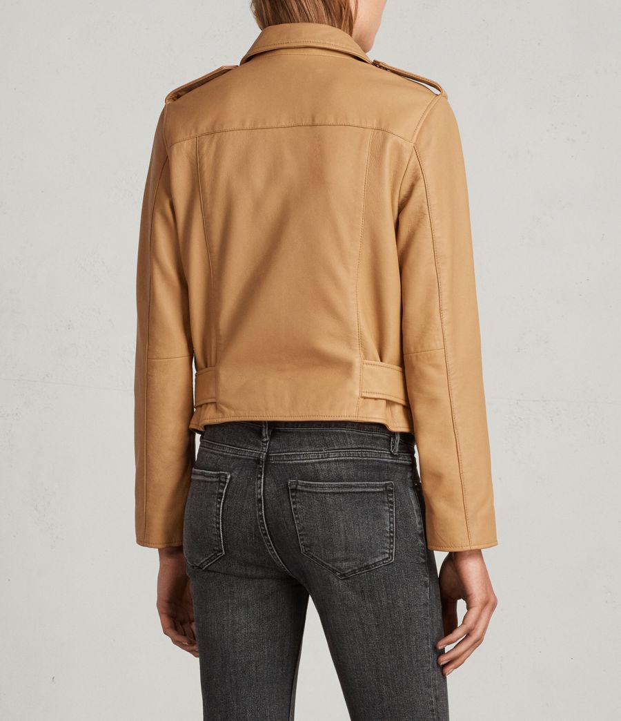 Womens Balfern Leather Biker Jacket (butterscotch) - Image 6