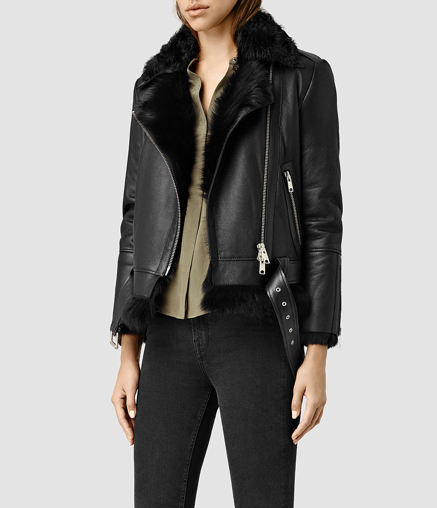 Donne Emerson Leather Biker Jacket (Black) - product_image_alt_text_2
