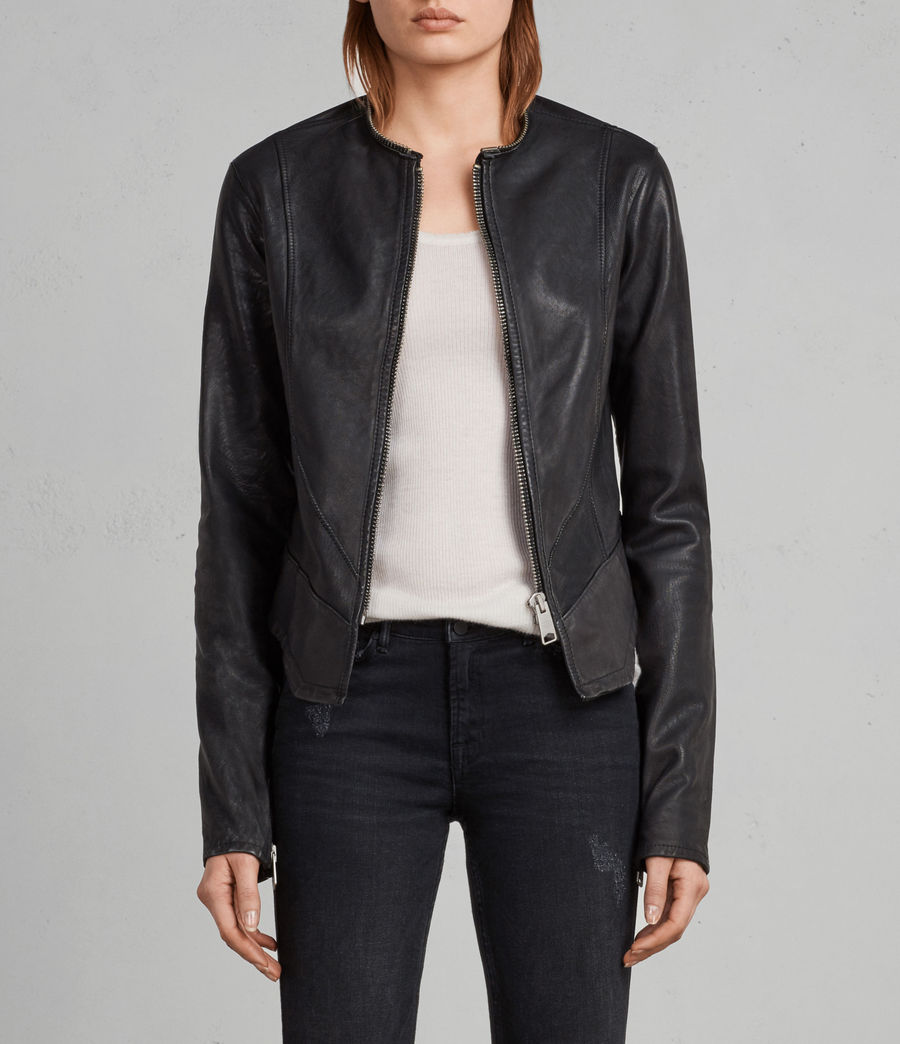 Women's Calle Leather Blazer (black) - Image 1