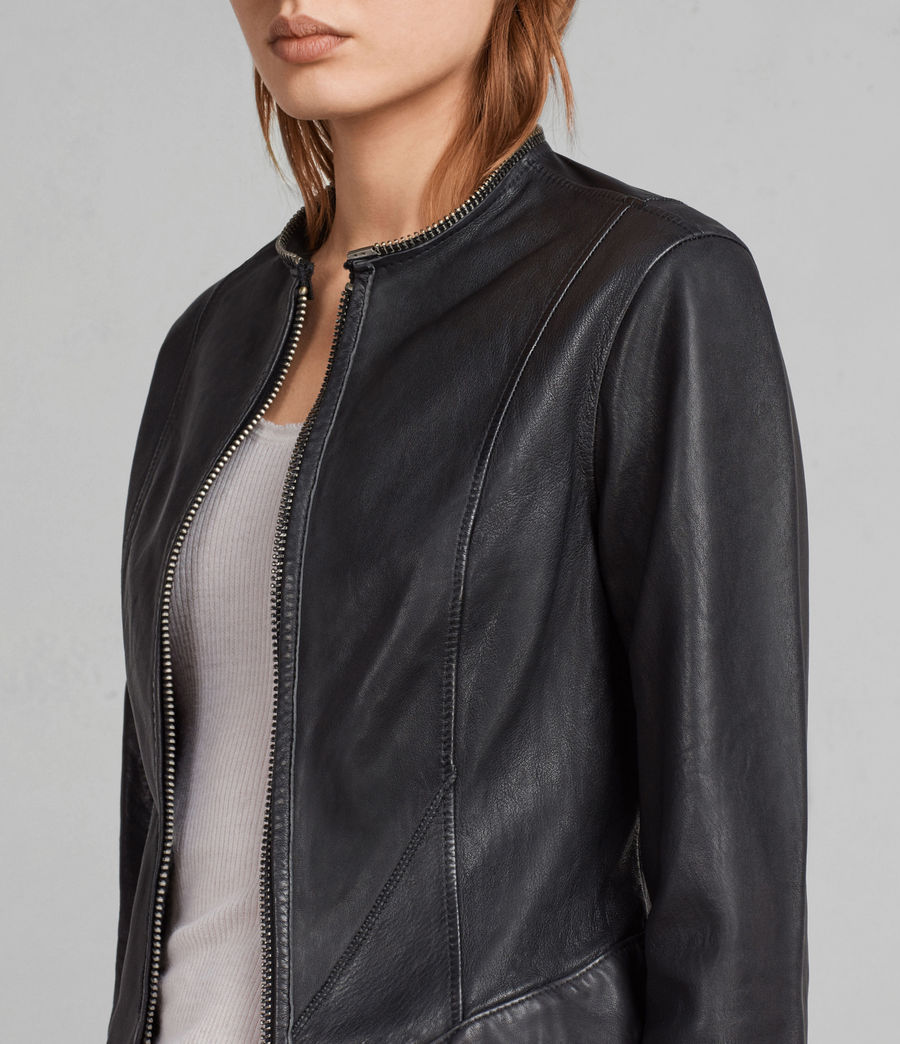 Women's Calle Leather Blazer (black) - Image 2