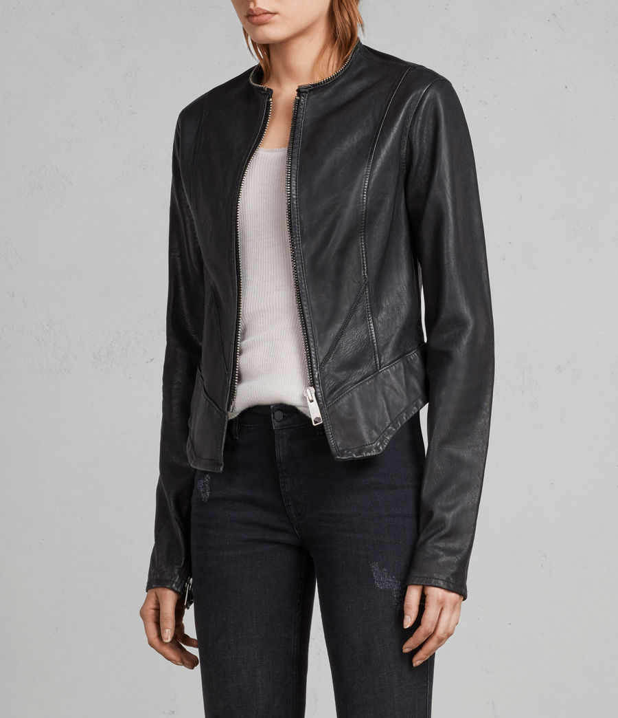 Women's Calle Leather Blazer (black) - Image 3
