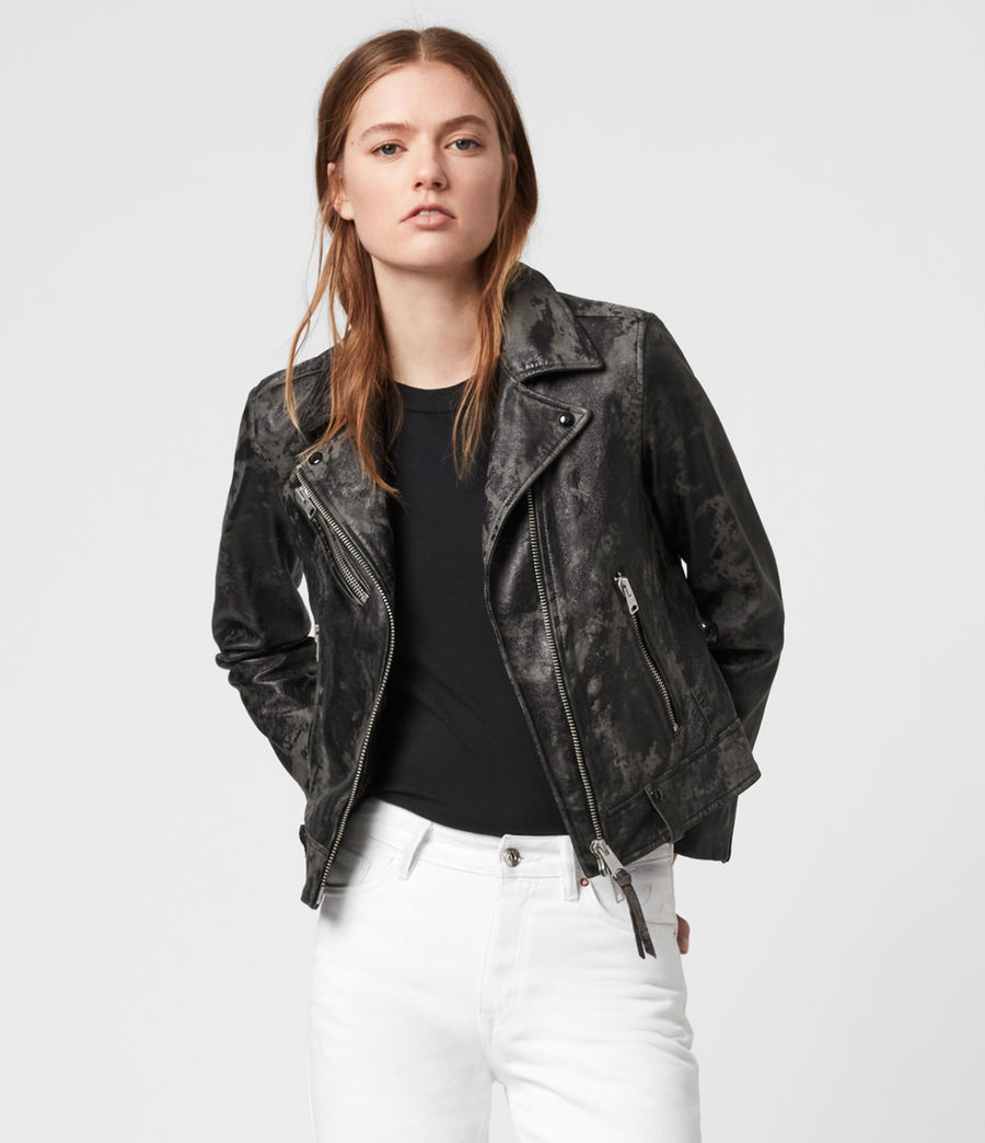 Women's Drury Leather Biker Jacket (black_grey) - Image 1