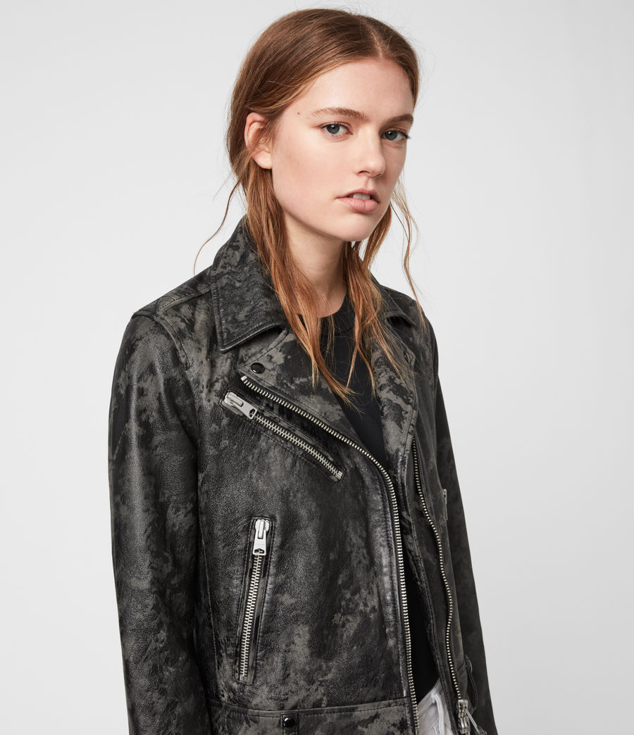 Women's Drury Leather Biker Jacket (black_grey) - Image 2