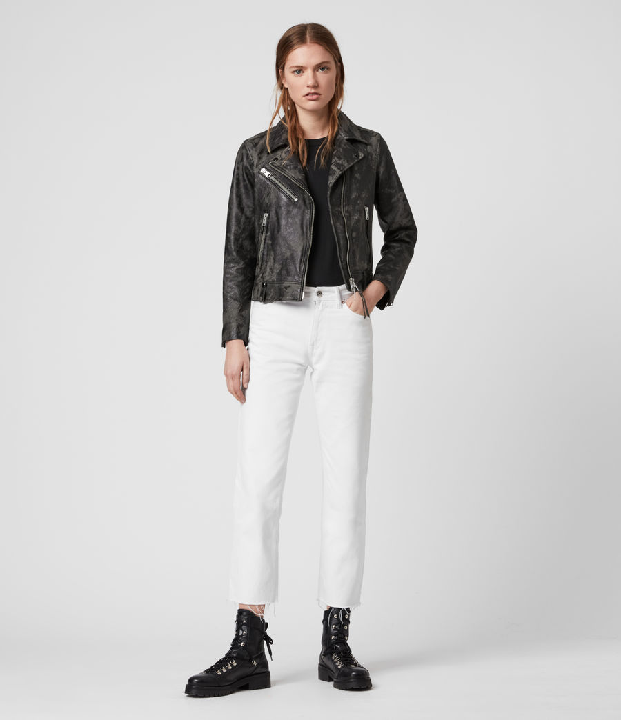 Women's Drury Leather Biker Jacket (black_grey) - Image 3