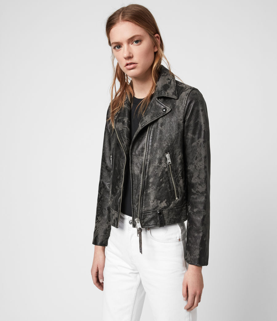Women's Drury Leather Biker Jacket (black_grey) - Image 4