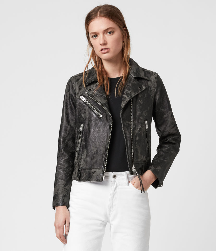 Women's Drury Leather Biker Jacket (black_grey) - Image 5