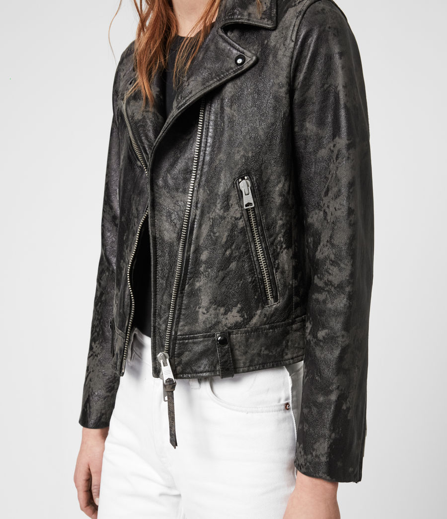 Women's Drury Leather Biker Jacket (black_grey) - Image 6