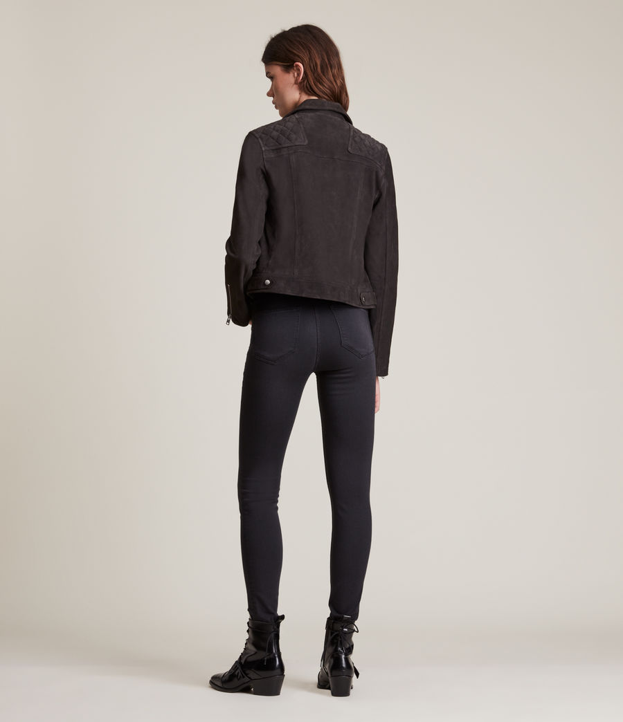 Womens Caden Suede Biker Jacket (oxblood_brown) - Image 6