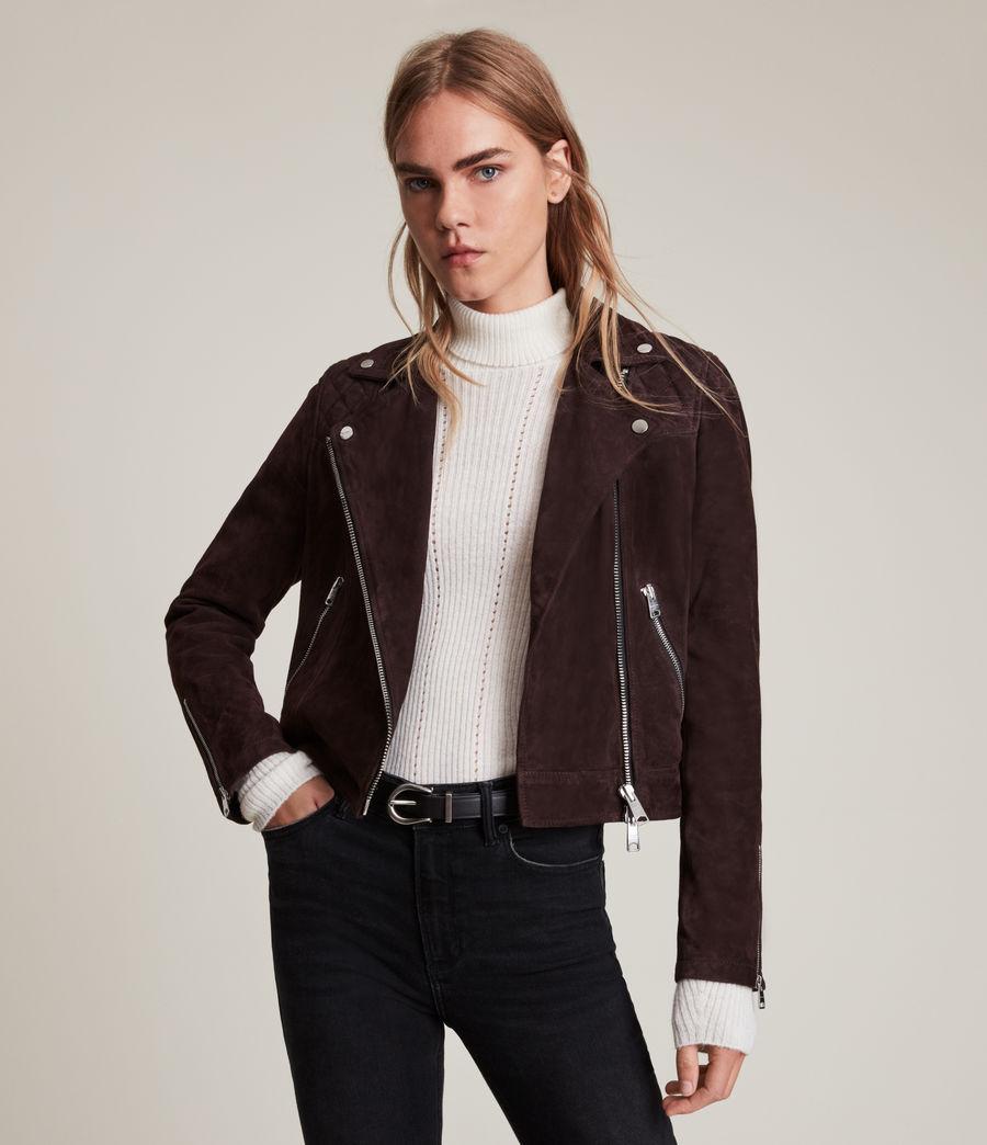 Womens Caden Suede Biker Jacket (oxblood_brown) - Image 1