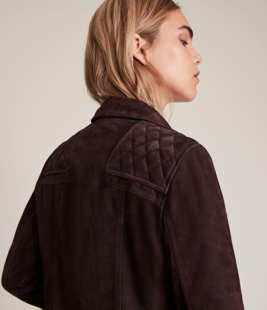 Womens Caden Suede Biker Jacket (oxblood_brown) - Image 3