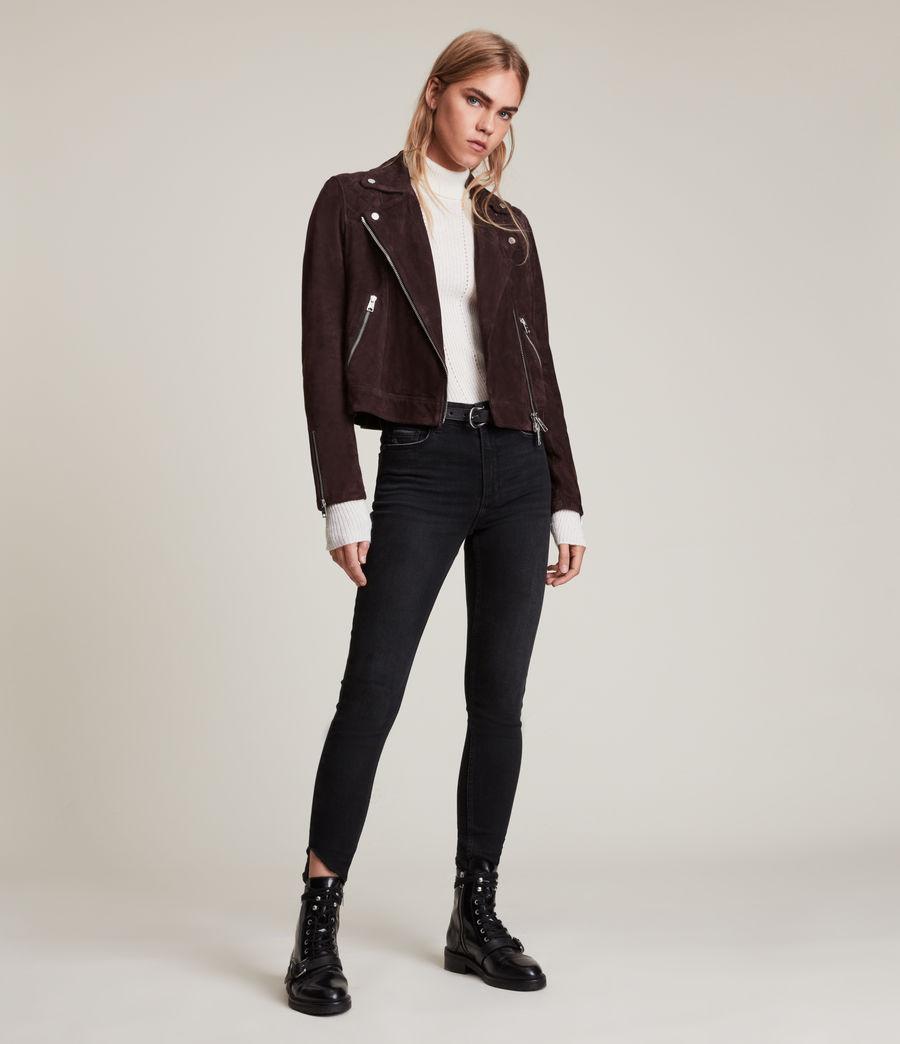 Womens Caden Suede Biker Jacket (oxblood_brown) - Image 4