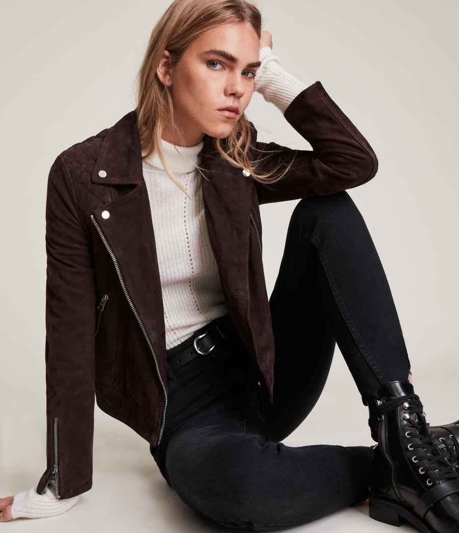 Womens Caden Suede Biker Jacket (oxblood_brown) - Image 5
