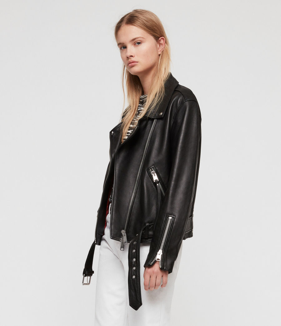 Women's Billie Leather Biker Jacket (black) - Image 3