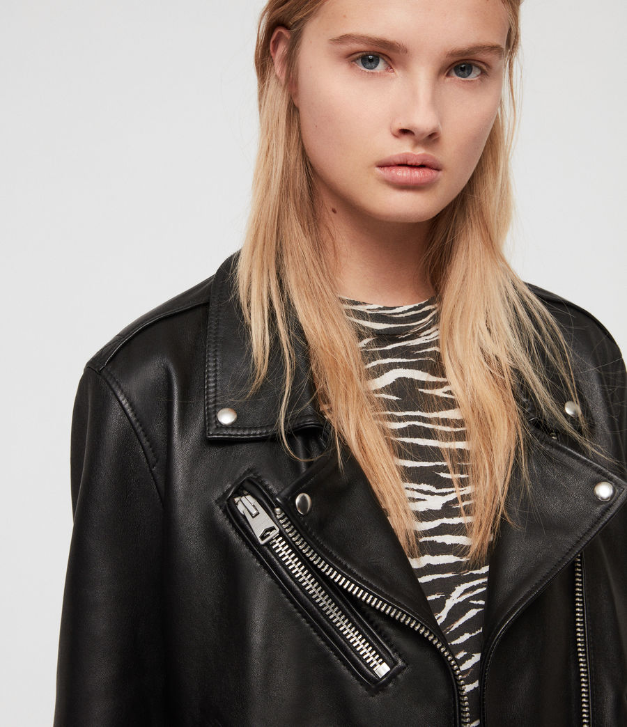 Women's Billie Leather Biker Jacket (black) - Image 4