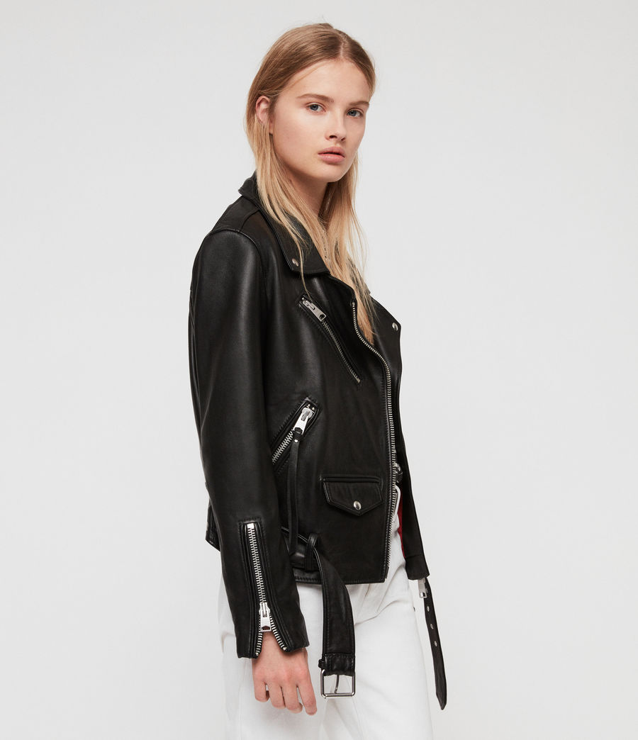 Women's Billie Leather Biker Jacket (black) - Image 6