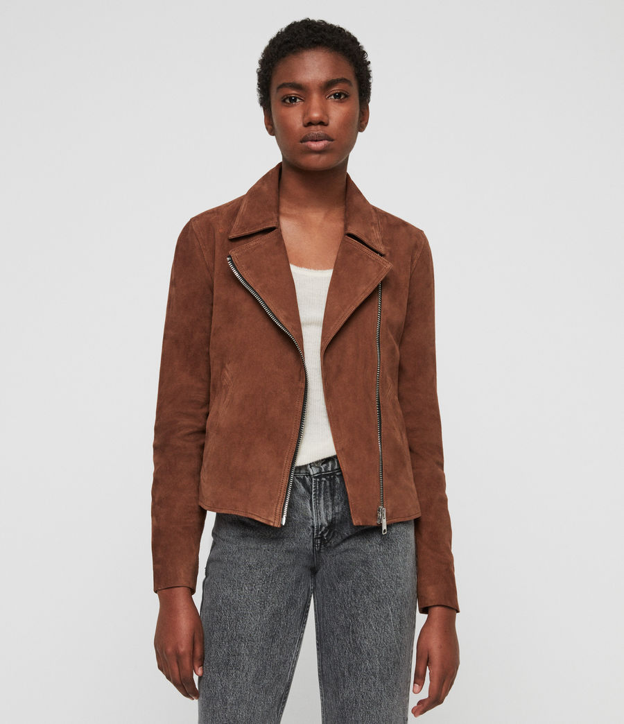 Womens Suede Vela Biker Jacket (conker_brown) - Image 1