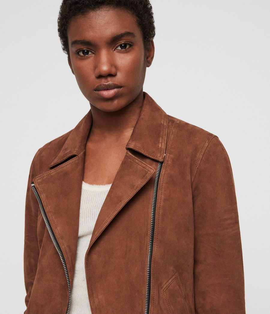 Womens Suede Vela Biker Jacket (conker_brown) - Image 2