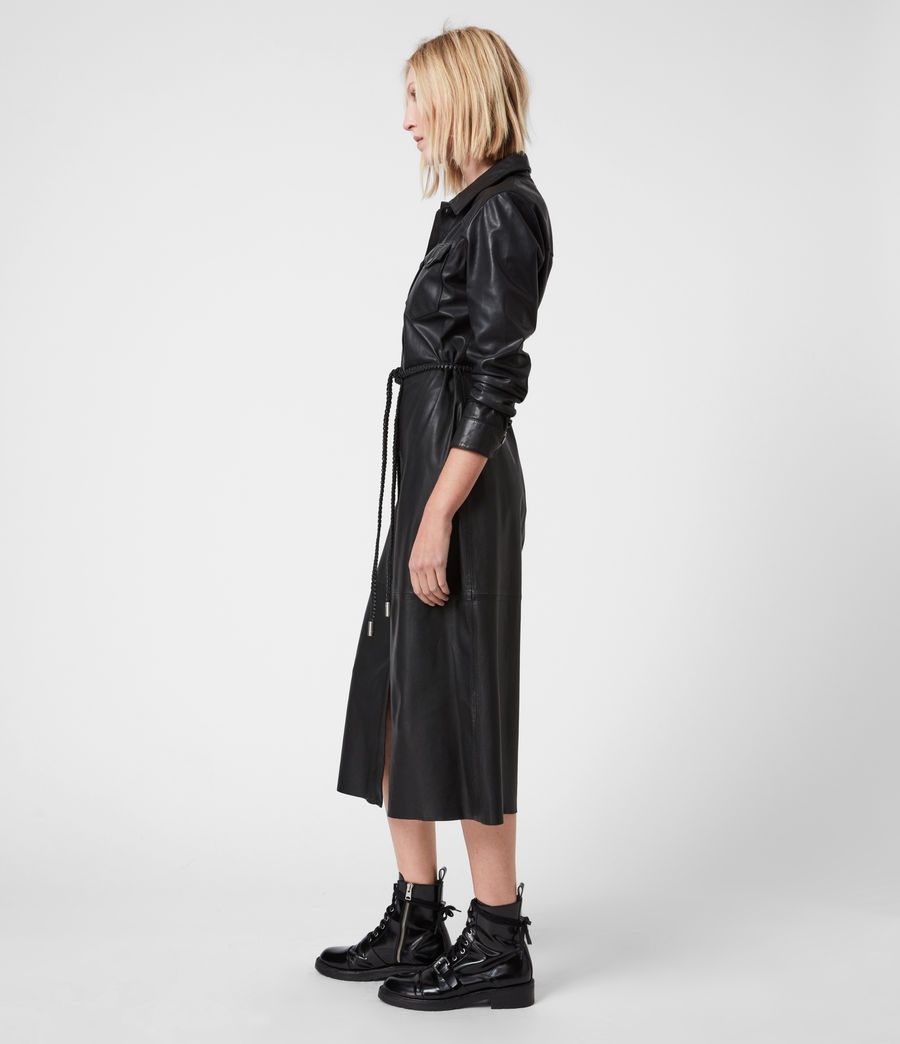 Women's Lambert Leather Dress (black) - Image 4