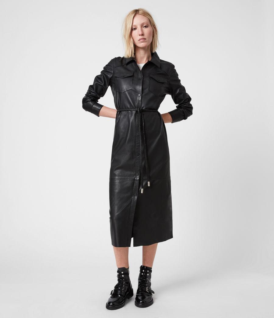 Women's Lambert Leather Dress (black) - Image 7