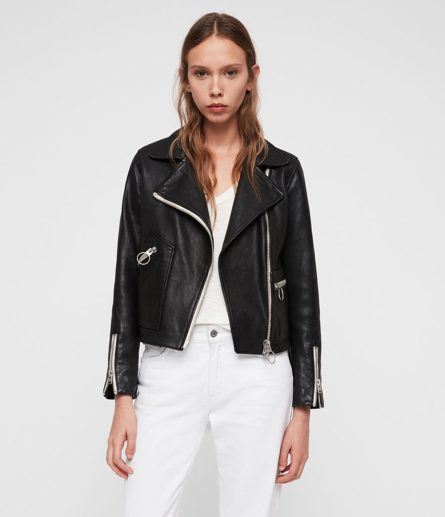 Leather Biker Jacket with Silver Details