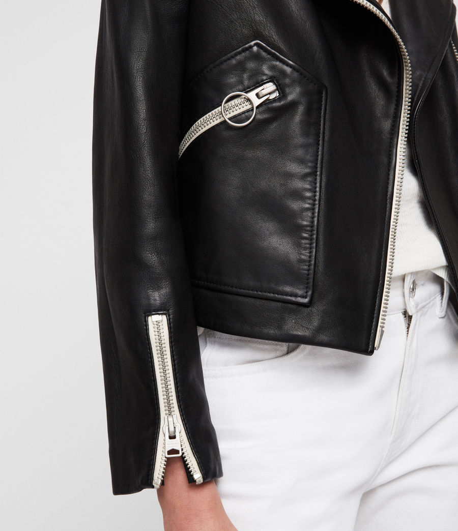 Women's Eada Leather Biker Jacket (black) - Image 2